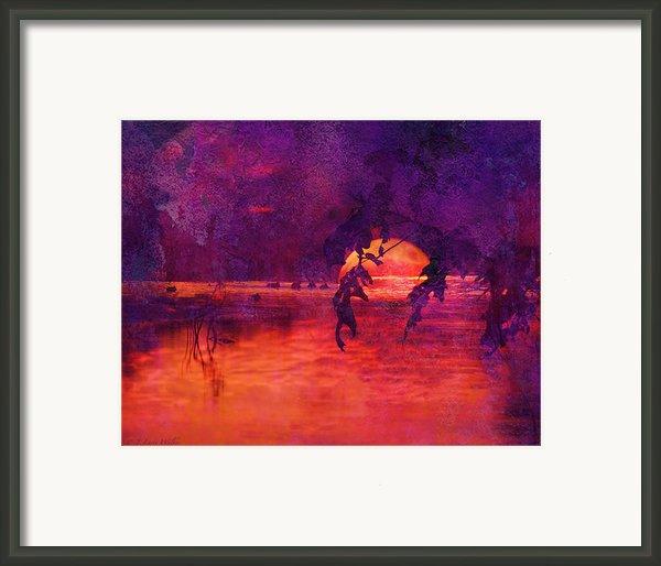 Bleeding Sunrise Abstract Framed Print By J Larry Walker