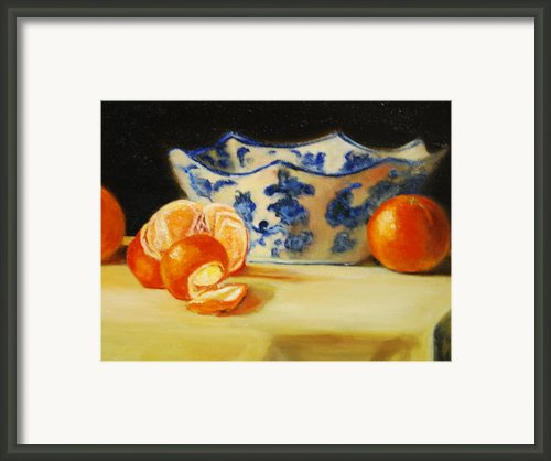 Blue And White Bowl And Tangerines Framed Print By Ann Simons