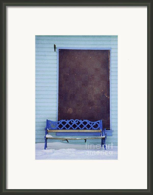 Blue Bench Framed Print By Priska Wettstein
