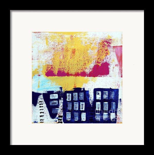 Blue Buildings Framed Print By Linda Woods