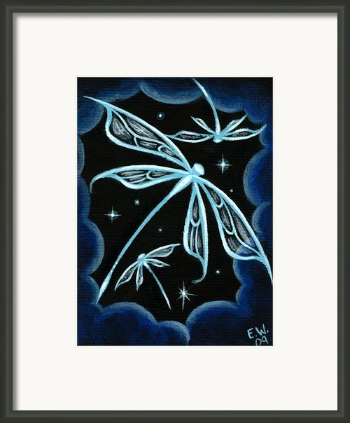 Blue Crystal Winged Dragonflies Framed Print By Elaina  Wagner
