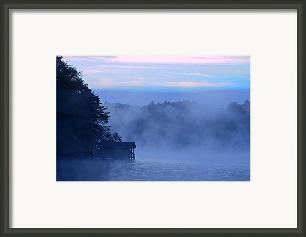 Blue Dawn Mist Framed Print By Susan Leggett