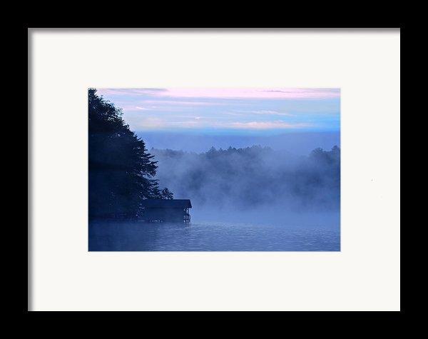 Blue Dawn Mist Framed Print By Susan Leggett
