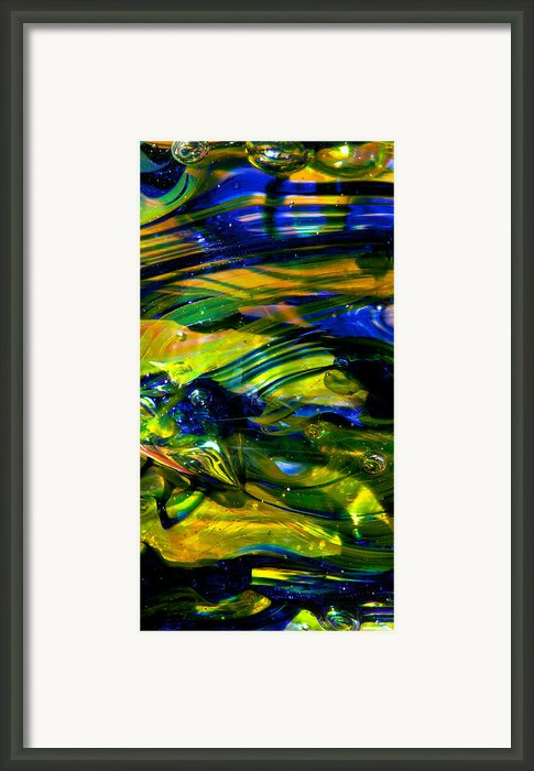Blue Green Glass Macro Framed Print By David Patterson