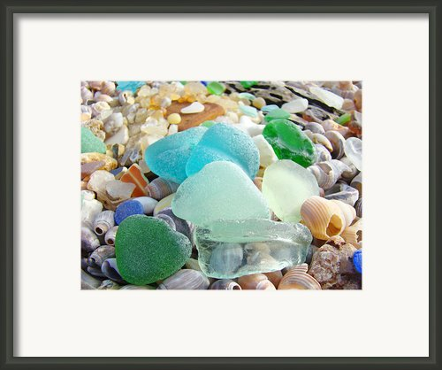 Blue Green Sea Glass Beach Coastal Seaglass Framed Print By Baslee Troutman Coastal Art Prints