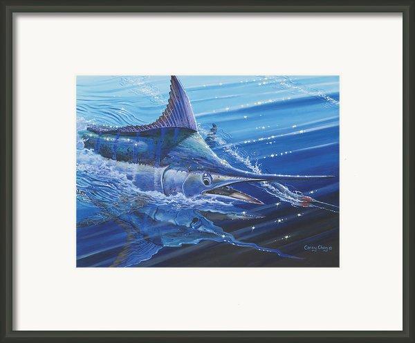 Blue Marlin Strike Off0053 Framed Print By Carey Chen