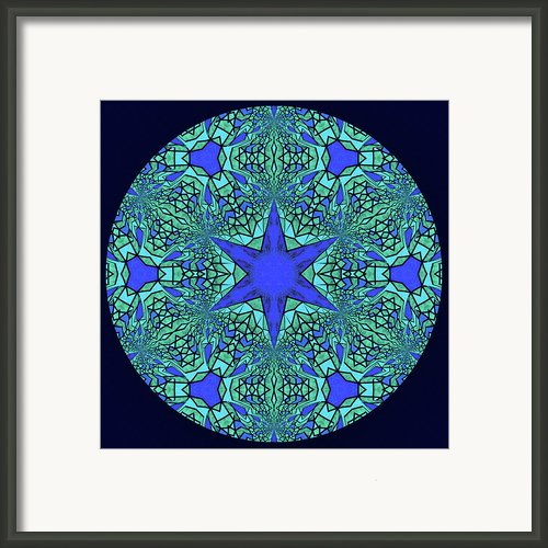 Blue Ornamental Mandala Framed Print By Zeana Romanovna
