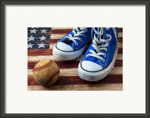 Blue Tennis Shoes And Baseball Framed Print By Garry Gay