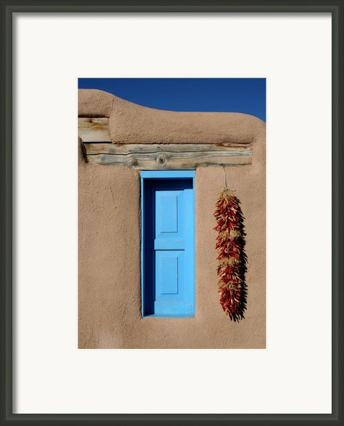 Blue Window Of Taos Framed Print By Heidi Hermes