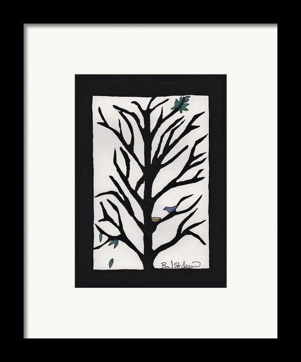 Bluebird In A Pear Tree Framed Print By Barbara St Jean