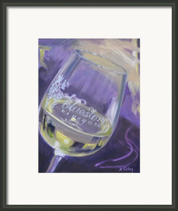 Bluestone Vineyard Wineglass Framed Print By Donna Tuten