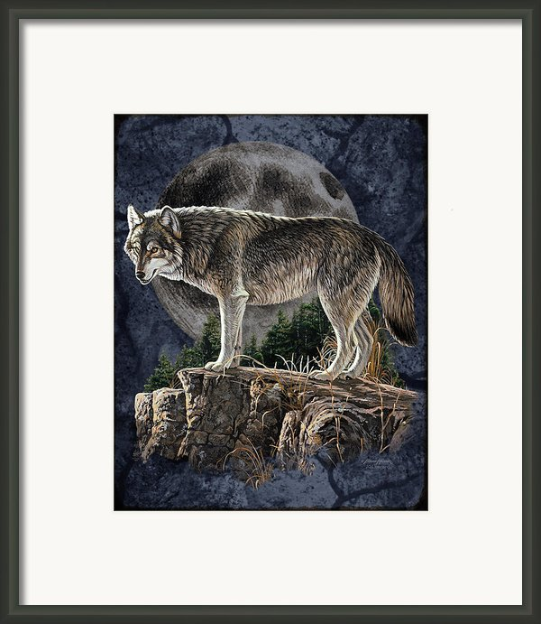 Bm Wolf Moon Framed Print By Jq Licensing