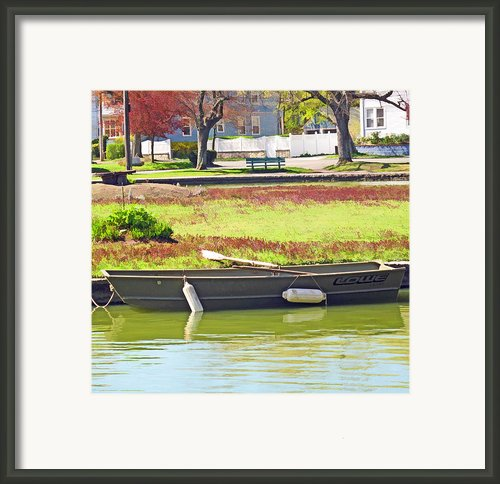 Boat At The Pond Framed Print By Barbara Mcdevitt