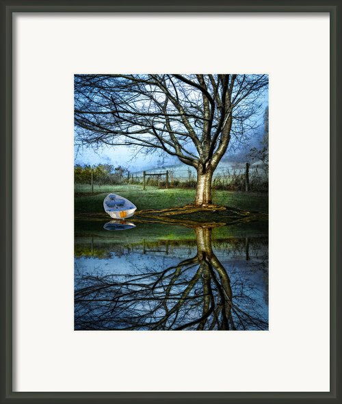 Boat On The Lake Framed Print By Debra And Dave Vanderlaan