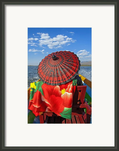 Boat Passanger With Pathein Umbrella Framed Print By Judith Barath
