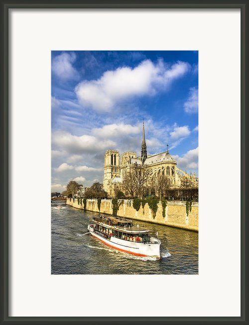 Boat Passing Notre Dame De Paris  Framed Print By Mark E Tisdale