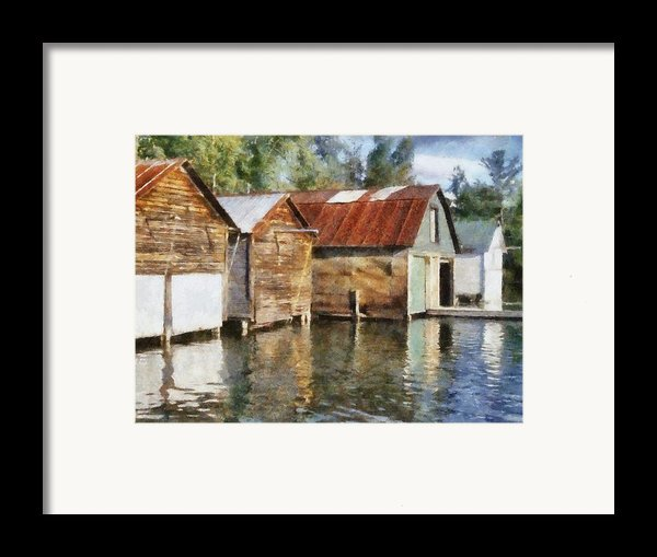 Boathouses On The Torch River Ll Framed Print By Michelle Calkins