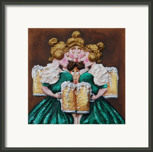 Boobies And Beer Framed Print By Alison  Galvan