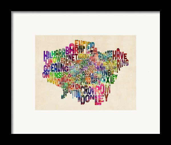 Boroughs Of London Typography Text Map Framed Print By Michael Tompsett