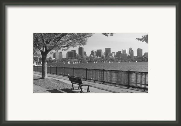 Boston Charles River Black And White  Framed Print By John Burk