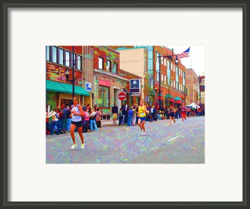 Boston Marathon Mile Twenty Two Framed Print By Barbara Mcdevitt