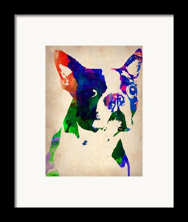 Boston Terrier Watercolor Framed Print By Naxart Studio
