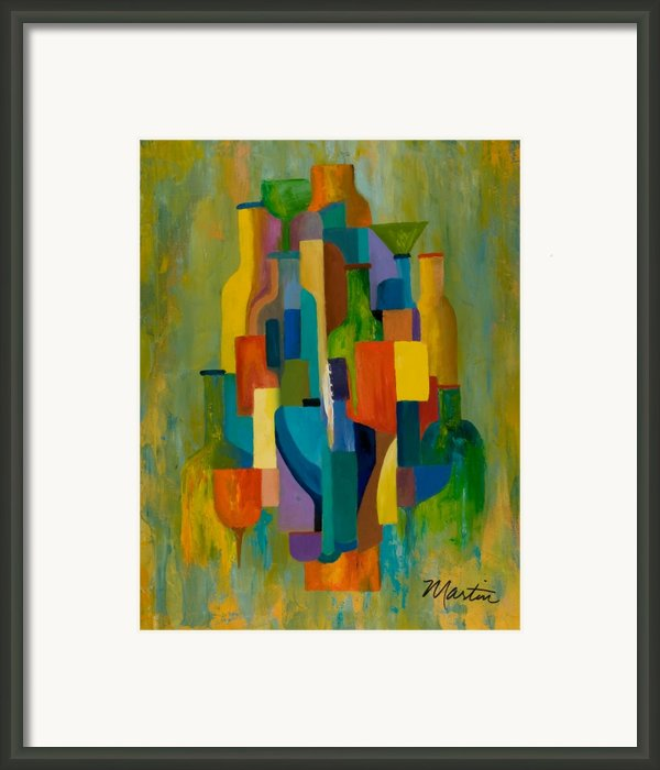 Bottles And Glasses Framed Print By Larry Martin