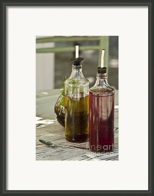 Bottles Of Olive Oil And Vinegard At Table Framed Print By Strahil Dimitrov