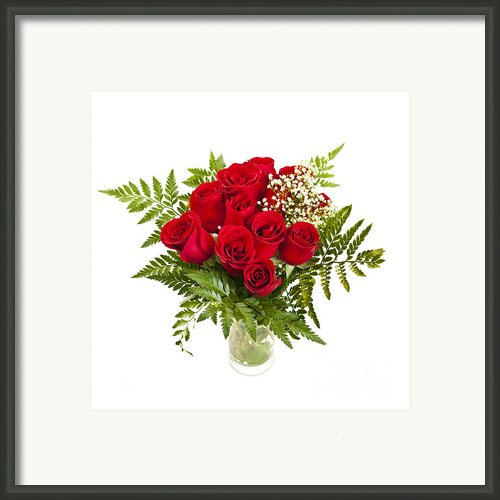 Bouquet Of Red Roses Framed Print By Elena Elisseeva