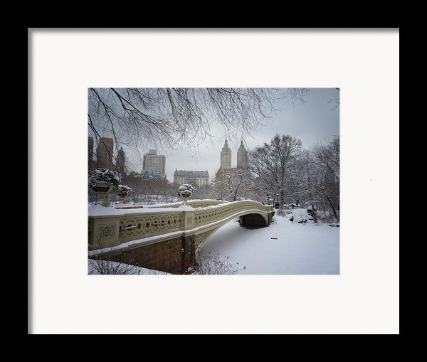 Bow Bridge Central Park In Winter  Framed Print By Vivienne Gucwa