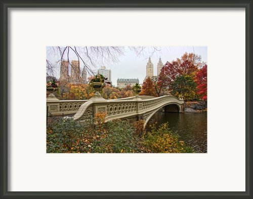 Bow Bridge In Central Park Framed Print By June Marie Sobrito