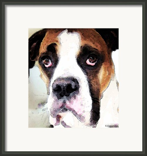 Boxer Art - Sad Eyes Framed Print By Sharon Cummings