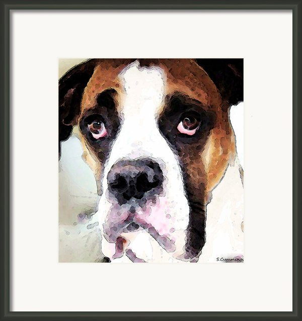 Boxer Art - Sad Eyes Framed Print By Sharon Cummings