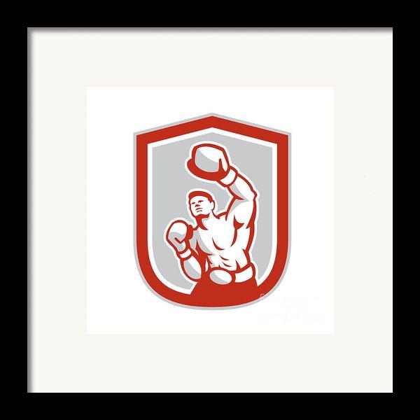 Boxer Boxing Punching Jabbing Circle Retro Framed Print By Aloysius Patrimonio