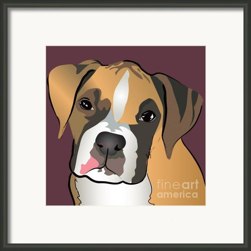 Boxer Puppy Pet Portrait  Framed Print By Robyn Saunders