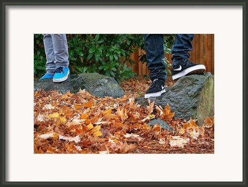 Boys Kickin It Framed Print By Christi Warn