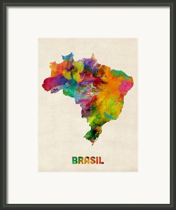 Brazil Watercolor Map Framed Print By Michael Tompsett