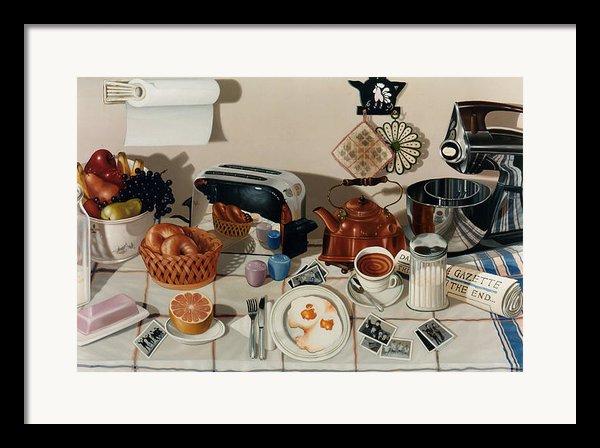 Breakfast With The Beatles - Skewed Perspective Series Framed Print By Larry Preston