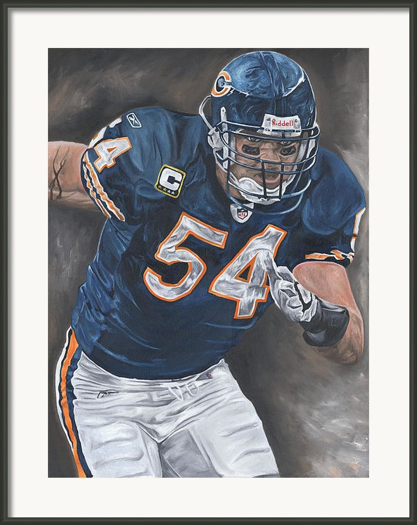 Brian Urlacher Seek And Destroy Framed Print By David Courson