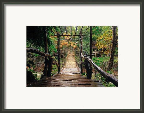 Bridge Over Waterfall Framed Print By Nawarat Namphon