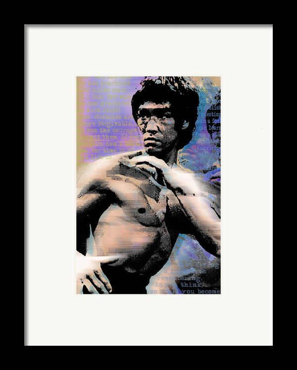 Bruce Lee And Quotes Framed Print By Tony Rubino