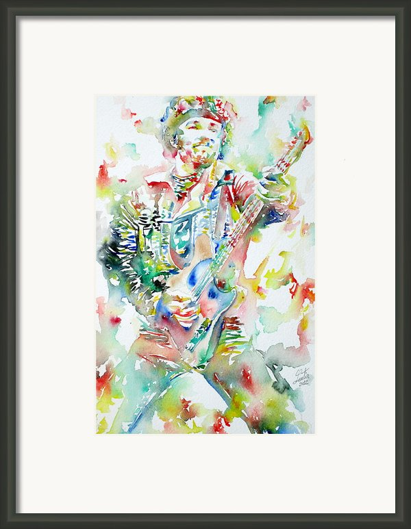 Bruce Springsteen Playing The Guitar Watercolor Portrait Framed Print By Fabrizio Cassetta