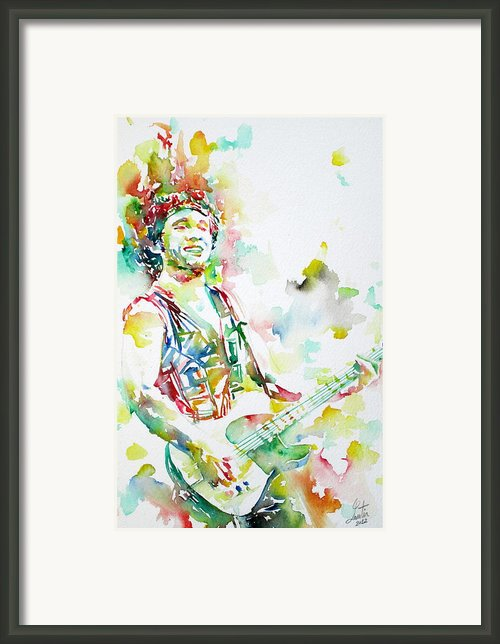 Bruce Springsteen Playing The Guitar Watercolor Portrait.2 Framed Print By Fabrizio Cassetta