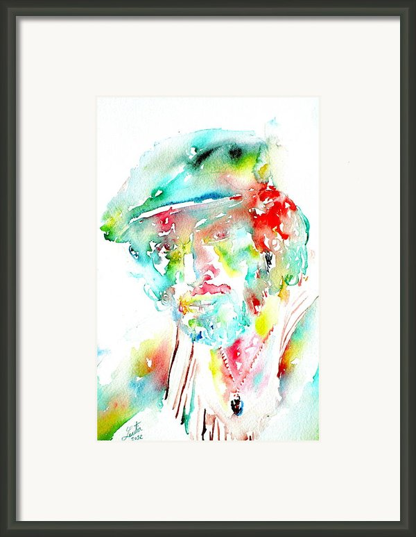 Bruce Springsteen Watercolor Portrait Framed Print By Fabrizio Cassetta