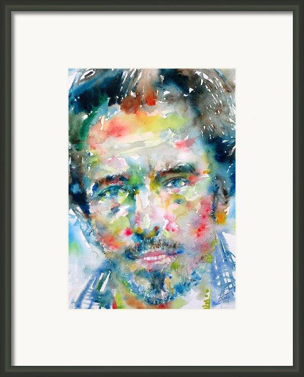 Bruce Springsteen Watercolor Portrait.1 Framed Print By Fabrizio Cassetta