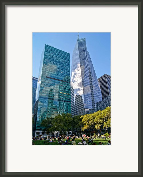 Bryant Park And Architecture Framed Print By Dawn Williams