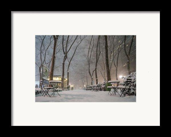 Bryant Park - Winter Snow Wonderland - Framed Print By Vivienne Gucwa
