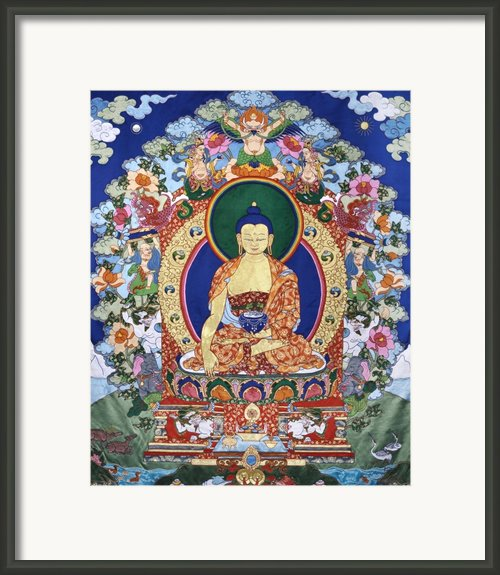Buddha Shakyamuni And The Six Supports Framed Print By Leslie Rinchen-wongmo
