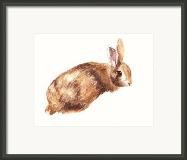 Bunny Print - Coffee And Cream Framed Print By Alison Fennell