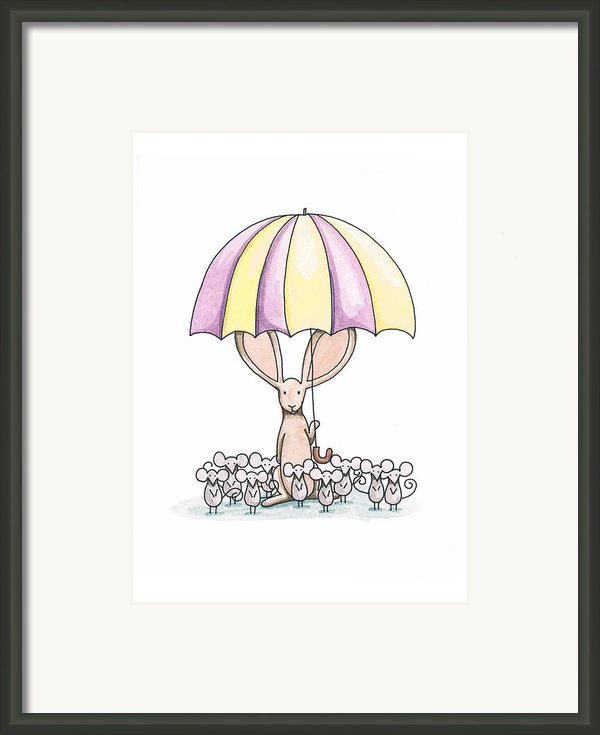 Bunny With Umbrella Framed Print By Christy Beckwith